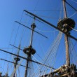 Masts of ancient battleship — Stock Photo