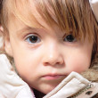 Winter-dressed baby girl portrait — Stock Photo