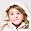 Baby girl with hood — Stock Photo