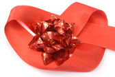 Red bow in heart — Stockfoto