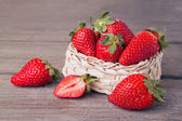 Basket full of fresh strawberries — Stock Photo