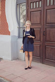 Girl with books — Stockfoto