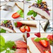 Cheese cake collage — Stock Photo