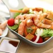 Seasoning prawn salad — Vídeo Stock