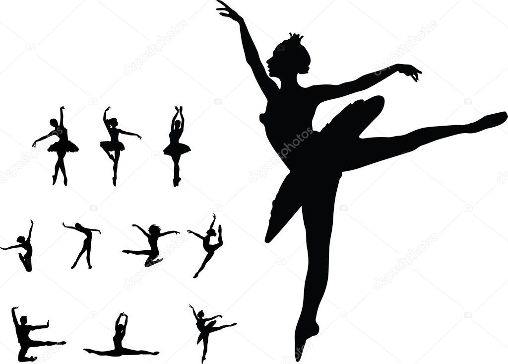 Set dance girl ballet vector silhouettes   Stock Vector #12316198