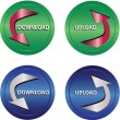 Download and upload icon buttons — Image vectorielle