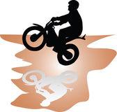 Moto rider black vector silhouette illustration — Stock Vector
