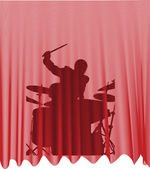 Drummer behind the curtain — Stock Vector