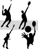 Tennisspelers dienen — Stockvector
