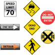 Stock Vector: Set of traffic signs