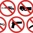 No weapons signs — Stock Vector
