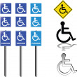 Collection of handicap signs — Stock Vector