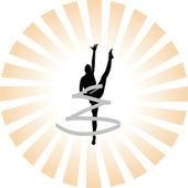 Rhythmic gymnastics silhouette — Stock Vector