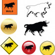 Bull icons — Stock Vector
