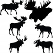 Moose silhouettes — Stock Vector