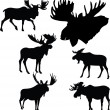 Moose silhouettes — Stock Vector #19556359