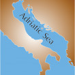 Map of adriatic sea  — Stock Vector