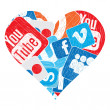 Stock Vector: Heart of social mediicons