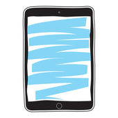 Tablet pc with blue curve — Vector de stock