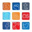 Set colored vector icons of social networks — Stock Vector #21681989