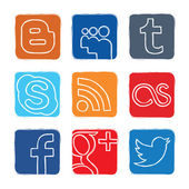 Set colored vector icons of social networks — Stock Vector
