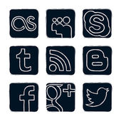 Set vector icons of social networks, black & white — ストックベクタ