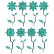 Spring icons of social networks siluet emerald - Stock Vector