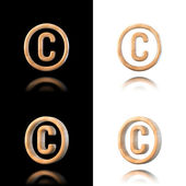 Three dimensional wooden copyright symbol. Isolated on white and — Stock Photo
