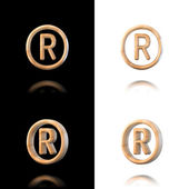 Three dimensional wooden registered trademark symbol. Isolated o — Stock Photo
