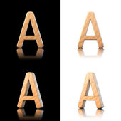 Three dimensional wooden letter A. Isolated on white and black. — Stock Photo