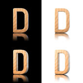 Three dimensional wooden letter D. Isolated on white and black. — Stock Photo