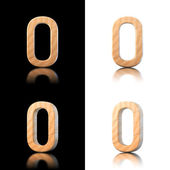 Three dimensional wooden letter O. Isolated on white and black. — Stock Photo