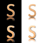 Three dimensional wooden letter S. Isolated on white and black. — Stock Photo