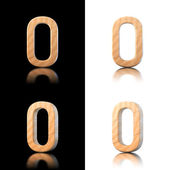 Three dimensional wooden number 0. Isolated on white and black. — Stock Photo