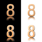 Three dimensional wooden number 8. Isolated on white and black. — Stock Photo