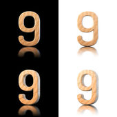 Three dimensional wooden number 9. Isolated on white and black. — Stock Photo