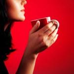 Beautiful lady drinking coffee — Stock Photo