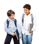 Two happy schoolboys — Stock Photo