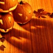 Halloween glowing pumpkins border - Stockfoto