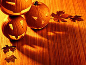 Halloween glowing pumpkins border — 图库照片