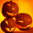 Stock Photo: Halloween glowing pumpkins
