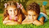 Two happy kids — Stock Photo