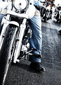 Bikers riding motorbikes — Stock Photo