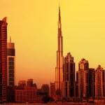 Dubai downtown on sunset — Stock Photo