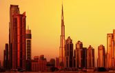 Dubai downtown sur coucher de soleil — Photo