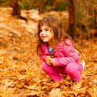 Smiling girl in autumn park - Stock Photo