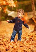 Little boy in autumn park — Stock Photo