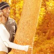Lovely couple in the wood — Stock Photo
