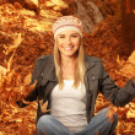 Happy female in autumn woods — Stock Photo #13848716
