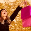 Girl with pink shopping bags — Stock Photo